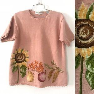 Vintage 1980's sunflower & fruit fall sweater